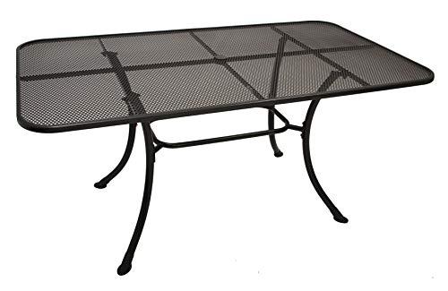 DEGAMO strekmetalen tafel RIVO 90x160cm met stabiel frame rond buizen, ijzergrijs