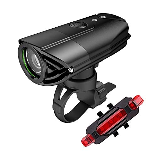 NOLOGO Yg-ct 1200 Lumen Fahrrad-Licht, Fahrrad-Scheinwerfer, LED-Rücklicht-USB aufladbare Taschenlampe MTB Fahrrad Laterne for Fahrrad-Lampe (Farbe : 2000MAH Black)