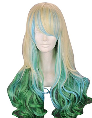 etruke longue Lolita Multicolore Wave fille Halloween Cosplay Perruques