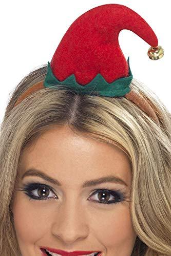 Smiffy's Smiffys Mini cappello elfo, Rosso, su cerchietto Donna, Rosa, Taglia unica, 23450