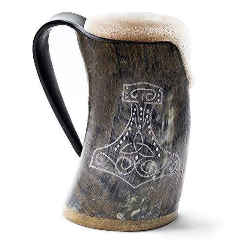 Nordischer Händler Echter Wikinger-Trinkhornbecher - 100% natürlicher Bierhornkrug mit Thors Hammergravur |
