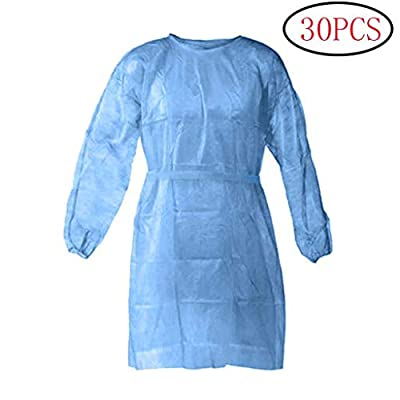 Disposable Protective Clothing, Medical Isolation Gowns, Blue Protective Coverall - Elastic Cuffs with Waist and Neck Tie Closures - Non-Sterile Examination Gowns for Women Men (30PCS, Blue)