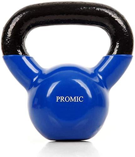 PROMIC Kettlebell Sports Kugelhantel Rubber Rundgewicht, Handgewicht mit Neoprenoberflaeche, Rutschfeste Oberflaeche, ideal Krafttraining, Gymnastik und Heimtraining (Blau), 2kg