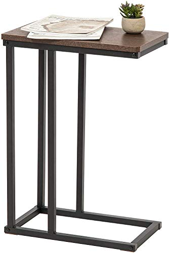 Marca Amazon - Movian Mesa auxiliar / Extremo del sofá / Mobile mesita de noche de madera MDF y metal - C-Shape Side Table SDT-L - Marrón y negro, 45 x 25,4 x 63,7 cm