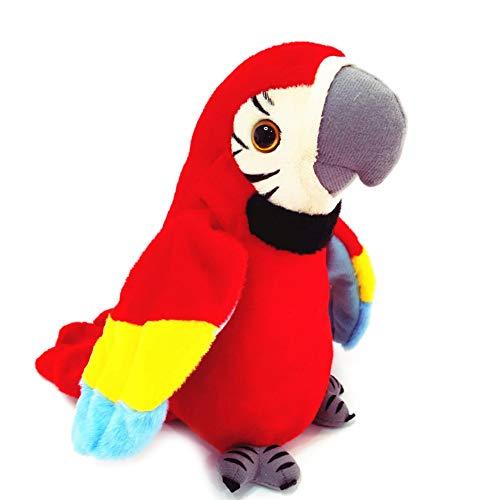 dfgdfg ぬいぐるみ おしゃべり オウム 音声認識人形 録音玩具 可愛い 翼を動く 癒し系 誕生日 お祝い クリスマス プレゼント 新年 正月 贈り物 ギフト(レッド)