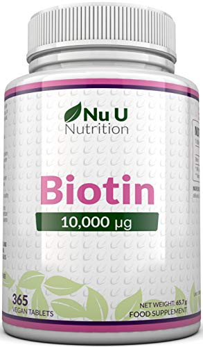 Biotin Hair Growth Supplement - 365 Tablets (Full Year Supply) - Biotin 10,000mcg by Nu U Nutrition