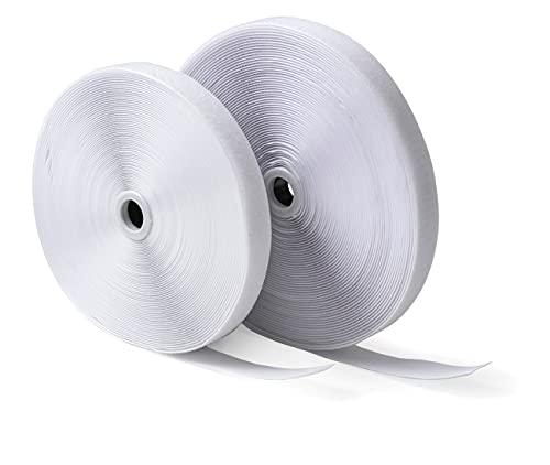 IPEA Nastro a Strappo (Non Adesivo) da Cucito – 25 Metri x 20 mm – Striscia Extra Forte per Arredamento Casa Vestiti Abiti da Cucire – Corda Gancio e Anello – Colore Bianco