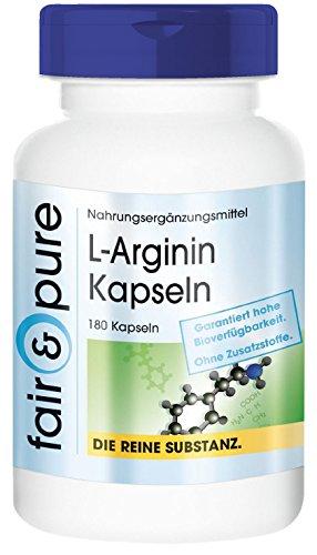 L-Arginine 4500mg prise quotidienne - fortement dosée et végane - 180 gélules de L-Arginine