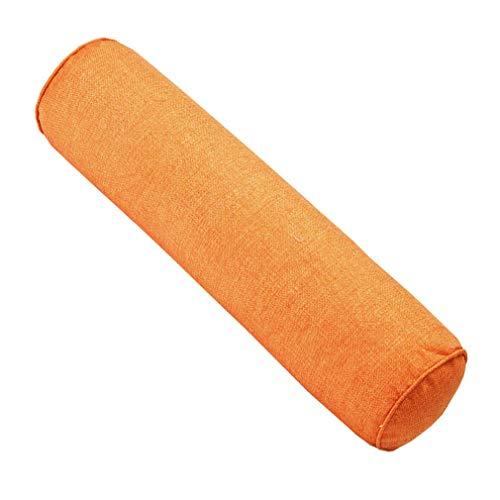 JK Home - Cuscino cilindrico in cotone e lino, per dormire, 10 x 40 cm, colore: Arancione