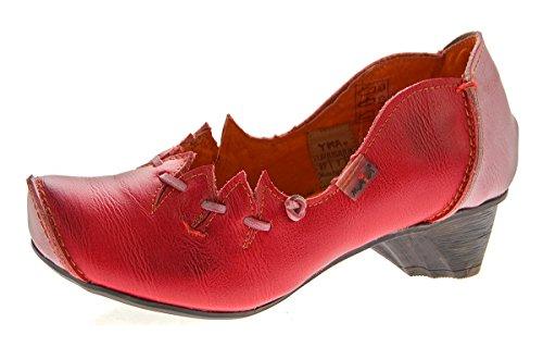 TMA Damen Ballerinas Echt Leder Pumps Comfort Leder Schuhe Rot Slipper TMA 8787 Gr. 39