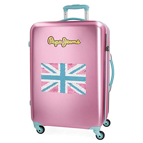 Koffer Pepe Jeans Bristol roze met vaste vlag 67 cm