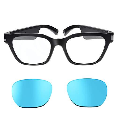 Chesbung Polarized Wireless Audio Sunglasses, Polarized Audio Sunglasses, Blue Light Cut Glasses, Polarized Sunglass Lenses, Chesbung 2nd Generation, Upgraded Chip, Sunglasses Lenses Added Polarized Function (Transparent + Blue)