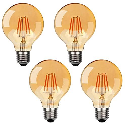 Bombilla LED vintage Edison E27 G80 4 W, 2300K amarillo cálido ,...
