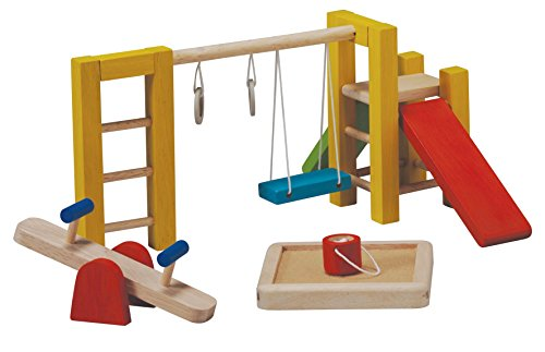 Buy Discount PlanToys Wooden Dollhouse Playground Equipment (7153) | Sustainably Made from Rubberwoo...