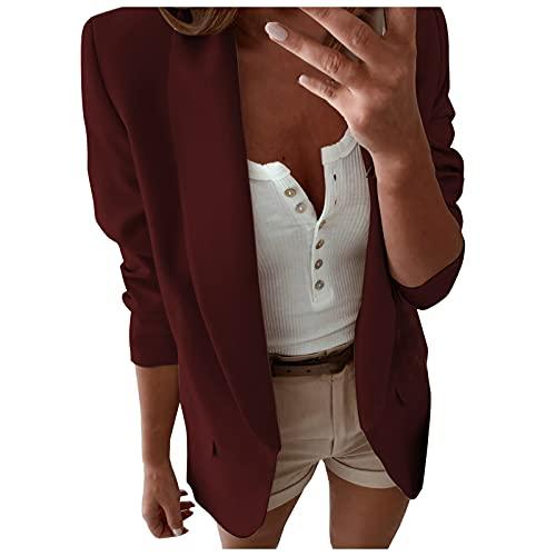 Chaqueta de manga larga para mujer con frente abierto, chaqueta para trabajo, oficina, cárdigan abrigos para exteriores, Vino, 40