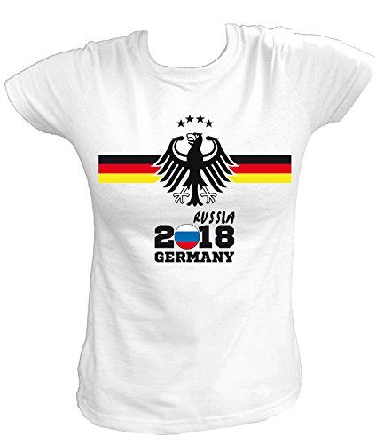 Artdiktat Damen T-Shirt - Deutschland Trikot Weltmeisterschaft 2018 Wunschname und -Nummer am Rücken - Adler Vier Sterne - Russia Russland Fußball Größe S, Weiß