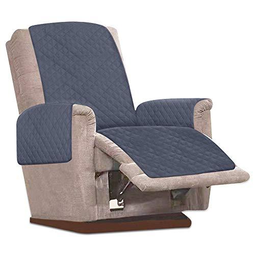 JTWEB Sesselschoner Sesselauflage Relax mit rutschfest, 1 Sitzer Sesselschutz Sofaüberwurf mit 2.5 cm Breiten verstellbaren Trägern (Grau)