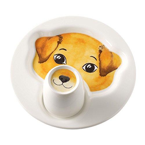 Villeroy & Boch Animal Friends Juego de Mesa Infantil con Motivos de Perro, 2 Piezas, Porcelana Premium, Blanco/Marrón