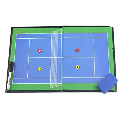 Tenis Pizarra Táctica Magnética Carpeta Táctica de Tenis Imanes Coach Board con Rotulador y Borrador - 42cm x 27cm Negro