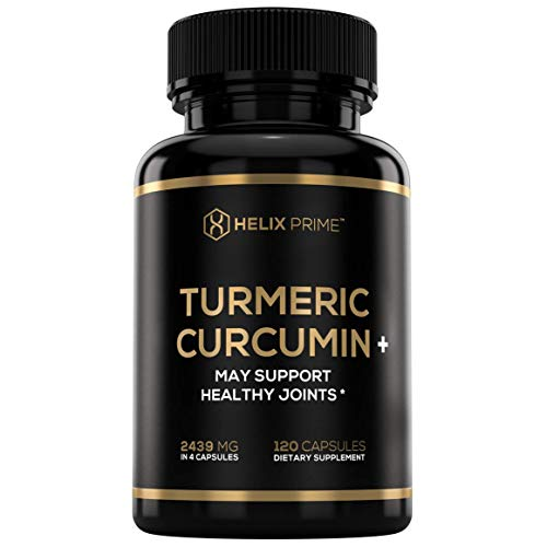 Turmeric Curcumin Supplement with Bioperine Dietary Supplement Complex High Absorption Supports Joints Pain Relief and Cardiovascular System with 95% Standardized Curcuminoids Root Made in USA
