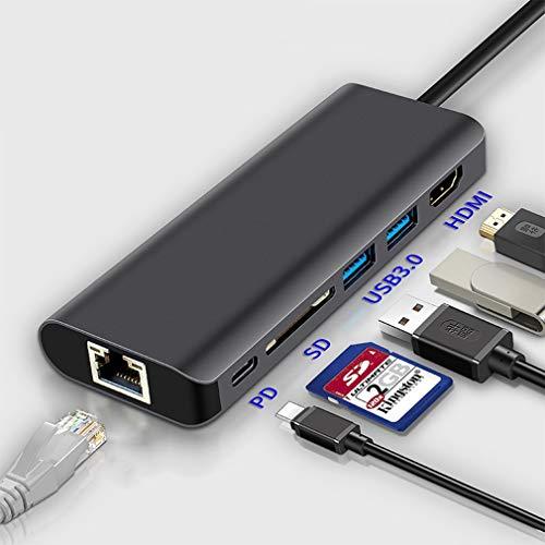 6 Hub Docking Station, Surface Pro 6 con Adaptador HDMI 4K LAN Ethernet 2 USB 3.0 Adaptador convertidor Lector de Tarjetas de Puerto USB C para Microsoft Otro Equipo de Puerto Tipo C