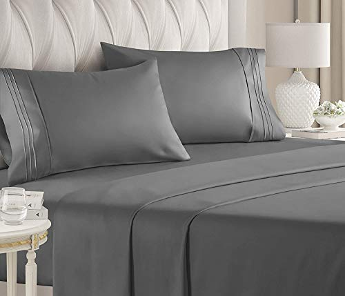 Scala 800 Thread Count 100% Egyptian Cotton 21 Inches Deep Pocket Sheet Set, Dark Grey Solid King Sheets 4 Piece Set