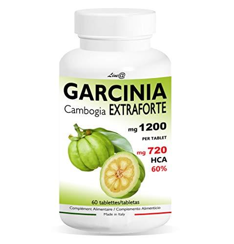 GARCINIA CAMBOGIA Extra Fuerte 1200mg | 60 tabletas | 100% PURO y NATURAL | 720 mg HCA para la tableta | Quemador de Grasa | Excelente aliado de la dieta Producto Italiano