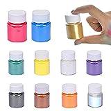 guofa Resina epossidica, 10 pezzi, 10 ml, vernice metallizzata Mica Powder epossidica, colore in polvere per sapone, per la produzione di colori