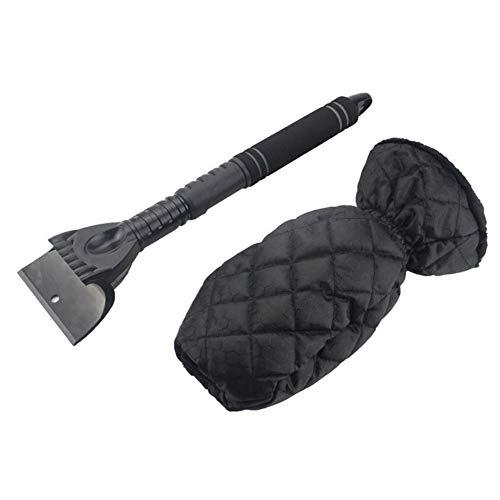 SANGSHI Guantes para rascar el hielo, rascador de hielo, con guantes calientes, gruesos, color negro con mango largo retráctil y resistente al agua, pala para nieve
