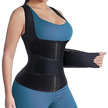 HOPLYNN Sauna Vest Sweat Waist Trainer for Women Weight Loss with Adjusted Corset Cincher Belt -Slimming Body Shaper Workout Black 4XLarge