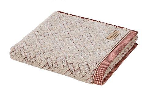 möve Spa Handtuch Quadrate mit Hoch - / Tief- Struktur 50 x 100 cm aus 80 % Baumwolle / 20 % Leinen, nature / sienna