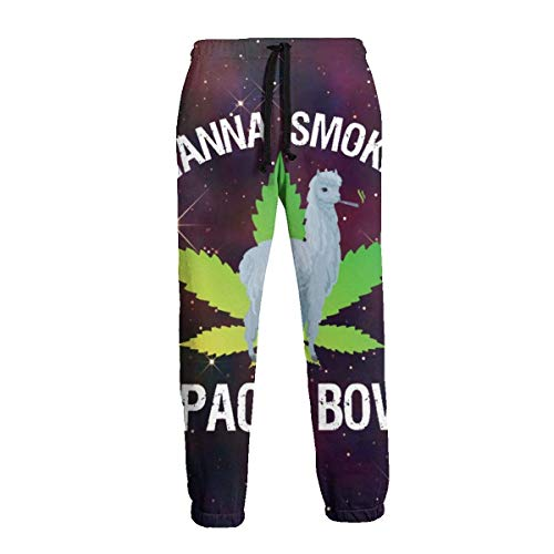 QUEMIN Llama Wanna Smoke Alpaca Bowl Marihuana Hombres Pantalones Deportivos Divertidos Pantalones con cordón 2XL