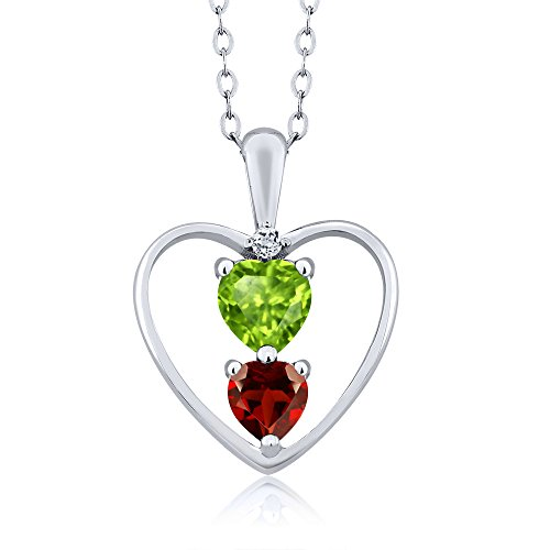 Gem Stone King Green Peridot and Red Garnet 925 Sterling Silver Pendant Necklace, 0.84 Ct Heart Shape with 18 Inch Silver chain
