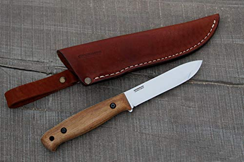 BPS Knives BS2FTS Full Tang Bushcraft Knife with Leather Sheath - Camping Outdoor Fixed Blade Carbon Steel Knife with Leather Case - Bush Camp Gear Wood Handle Knife - Scandinavian Knife Scandi Grind