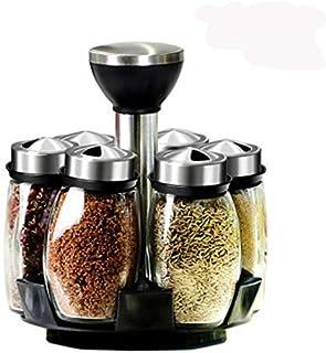 SPNEC La Rotation Cruet Condiments Assaisonnement Jars Set for Les Épices Poivre Sprays Bouteilles Sel Shakers Porte-Cuisi...
