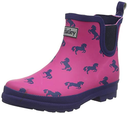 Hatley Mädchen Chelsea Rain Boots Gummistiefel, Pink (Multicolour Playful Ponies 650), 34 EU
