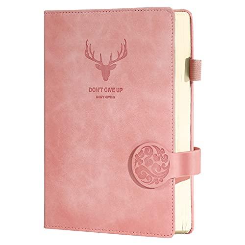 Cuaderno A5,Agenda A5 de piel Cuadernos Ejecutivos de Tapa Dura con Papel Grueso de Primera Calidad Diarios de Cuero para Cuaderno de Viaje Redacción Negocios Cuaderno de Conferencias pink
