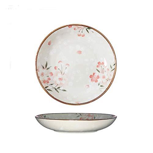 Xu Yuan Jia-Shop Platos Llanos Placa Poco Profunda de cerámica de 7 Pulgadas, Placa Redonda de Postre de Sakura, Placa de Cena Elegante hogar, Fiesta y restauración de Lujo. Platos de Comida