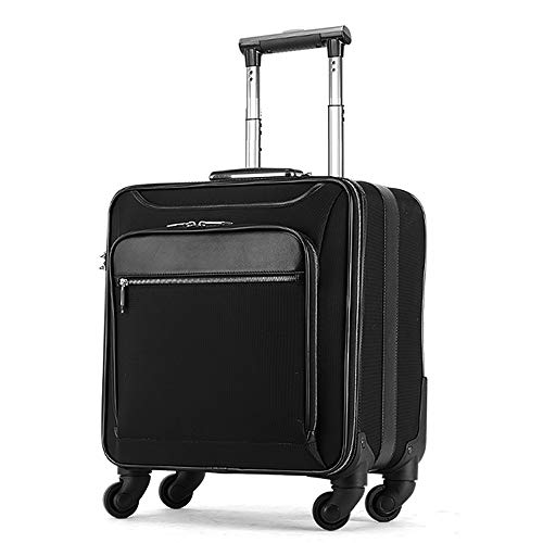 SongMyao Travel Luggage Case Multi-function Computer Cross Boarding Business Trolley Bags Oxford Cloth Suitcase Caster 16 Inch Trolley Case (Color : Black, Size : 38×25×48CM)