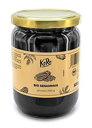 Koro - Tahin noir bio (Purée de sésame) - 500 g - Un vrai régal pour le palais à base de graines de sésame noir 100 % bio.