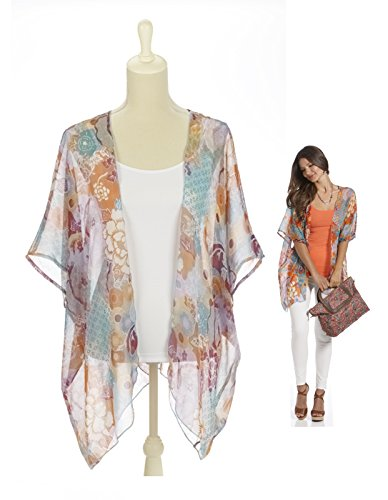 Style 101 Orange and Violet Floral Design Style Chic Shawl - By Ganz