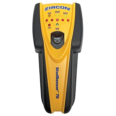 Zircon StudSensor 70 Center Finding Stud Finder with Live AC WireWarning Detection and Built-In Erasable Wall Marker
