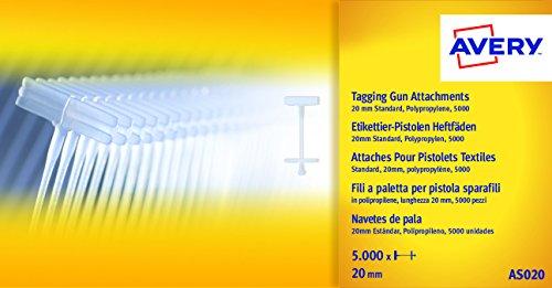Avery AS020 - Pack de 5000 navetes para pistola etiquetadora de precio tamaño 20 mm