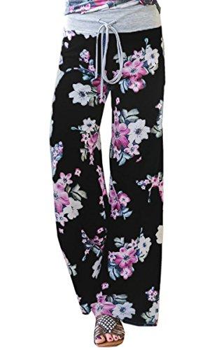 Angashion Damen Blumenmuster Weite Bein Lange Hose 0902 Schwarz XL