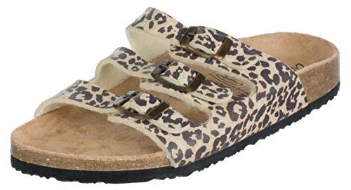 Brandsseller Damen Pantoletten Hausschuh Sandalette Sommerslipper Schnallen-Optik - Leoparden Look - 39