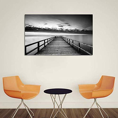 Leinwand Drucken Schwarz Weiße Landschaft Malerei Elegant Modernen Wand Dekoration Kunstdruck Leinwandbild Inkjet Fotoleinwand,Noframe,60x90cm