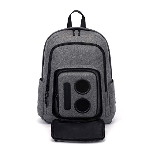 Bluetooth Speaker Backpack with 20-Watt Speakers & Subwoofer for Parties/Festivals/Beach/School. Rechargeable, Works with iPhone & Android (Gray, 2020 Edition)