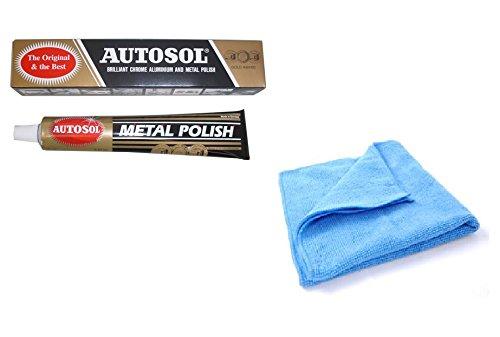 1 x 75-ml-Tube Solvol Autosol Metall-Politur und Mikrofaser-Reinigungstuch, für Chrom und Aluminium