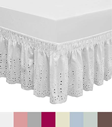 QSY Home Wrap Around Elastic Eyelet Bed Skirts Dust Ruffle...