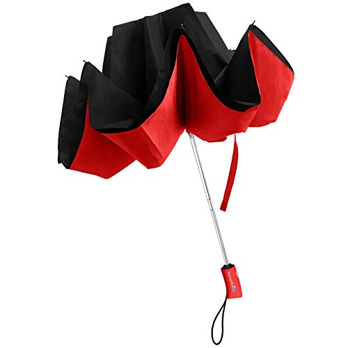 Better BRELLA Travelbrella Windproof Travel Umbrella Portable Compact Folding Collapsible with Automatic Open Close Button for Men and Women Red